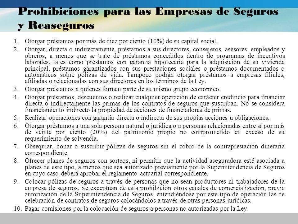 Prohibiciones para las Empresas de Seguros y Reaseguros