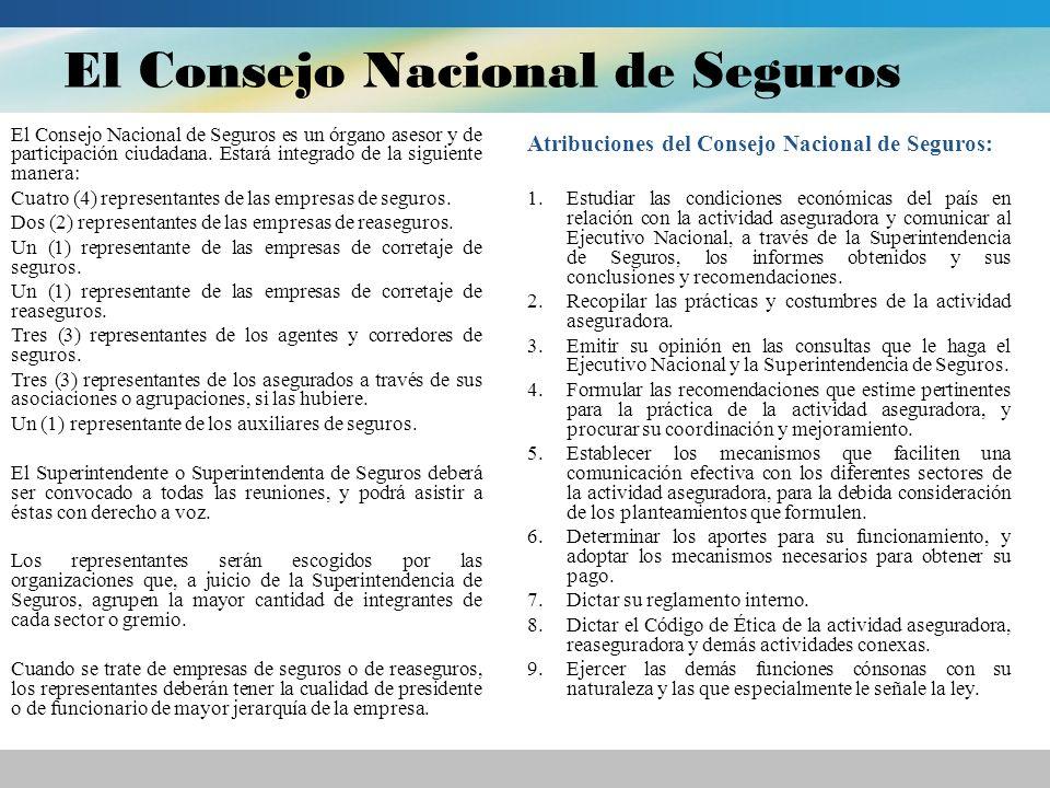 El Consejo Nacional de Seguros