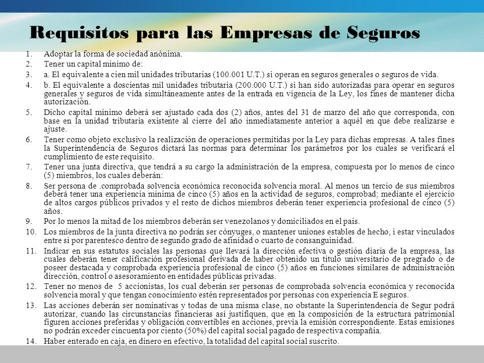Requisitos para las Empresas de Seguros