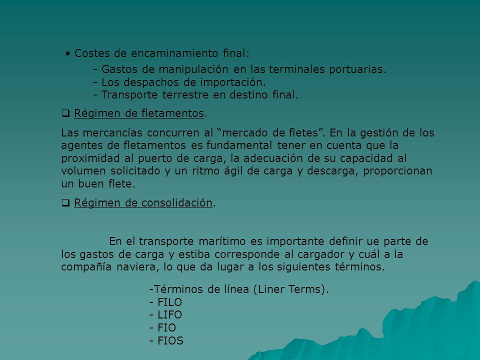 Costes de encaminamiento final: