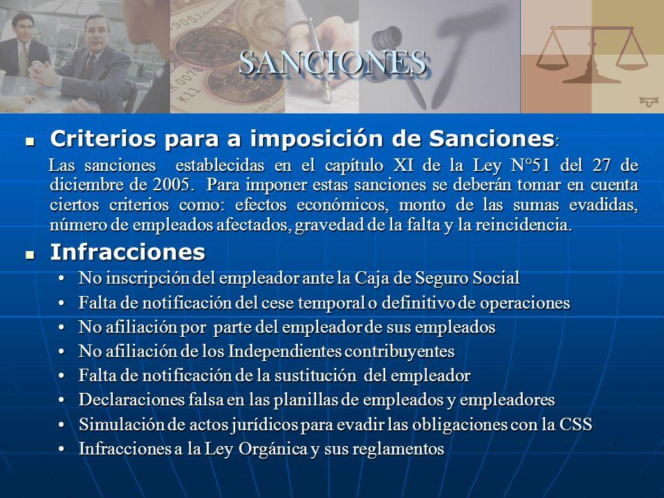 SANCIONES Criterios para a imposición de Sanciones: Infracciones