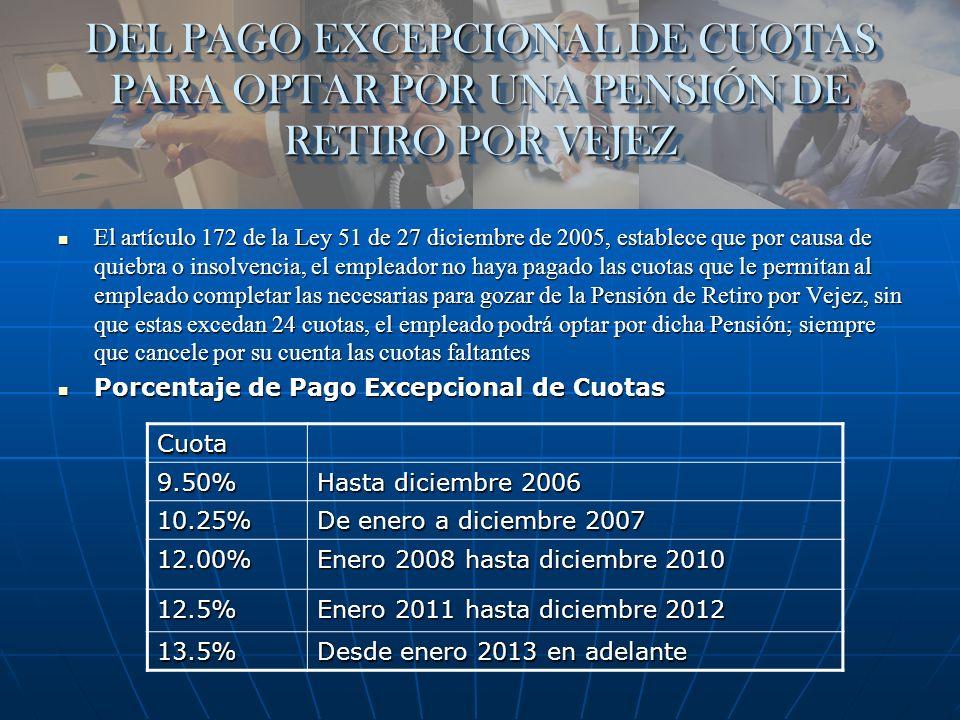 DEL PAGO EXCEPCIONAL DE CUOTAS PARA OPTAR POR UNA PENSIÓN DE RETIRO POR VEJEZ