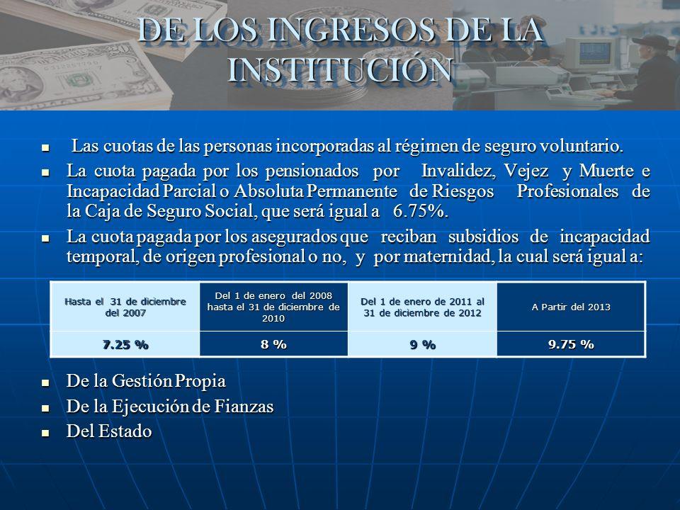 DE LOS INGRESOS DE LA INSTITUCIÓN
