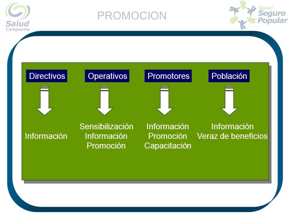 PROMOCION Directivos Operativos Promotores Población Sensibilización