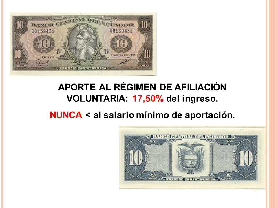 APORTE AL RÉGIMEN DE AFILIACIÓN VOLUNTARIA: 17,50% del ingreso.