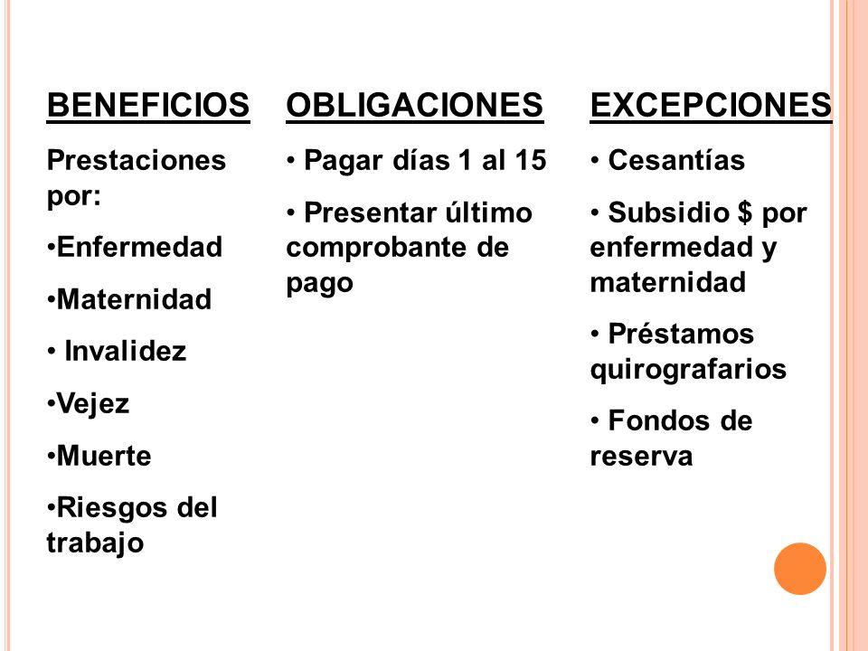 BENEFICIOS OBLIGACIONES EXCEPCIONES Prestaciones por: Enfermedad
