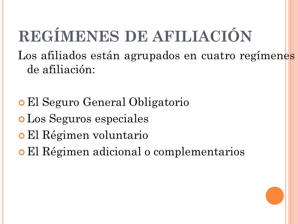 REGÍMENES DE AFILIACIÓN