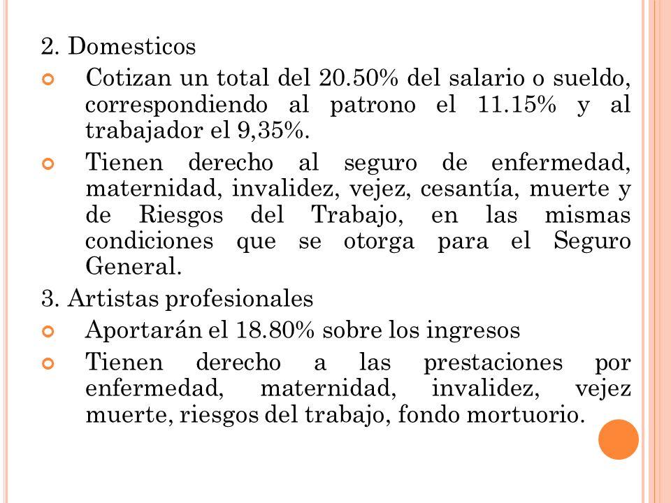2. Domesticos Cotizan un total del 20.50% del salario o sueldo, correspondiendo al patrono el 11.15% y al trabajador el 9,35%.