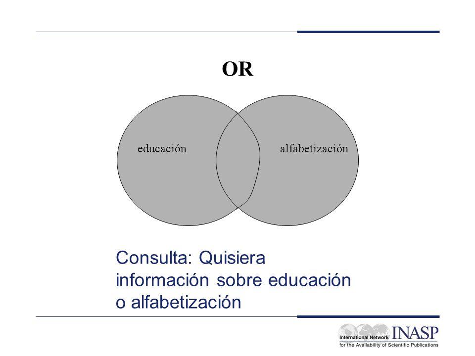 OR Consulta: Quisiera información sobre educación o alfabetización