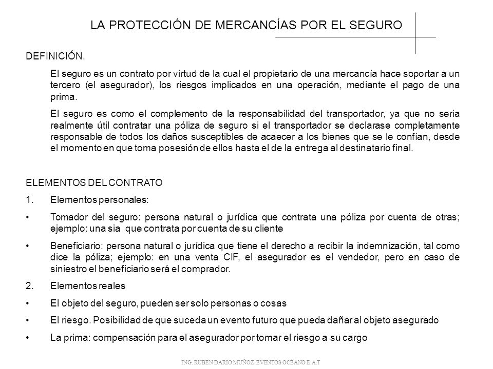 LA PROTECCIÓN DE MERCANCÍAS POR EL SEGURO
