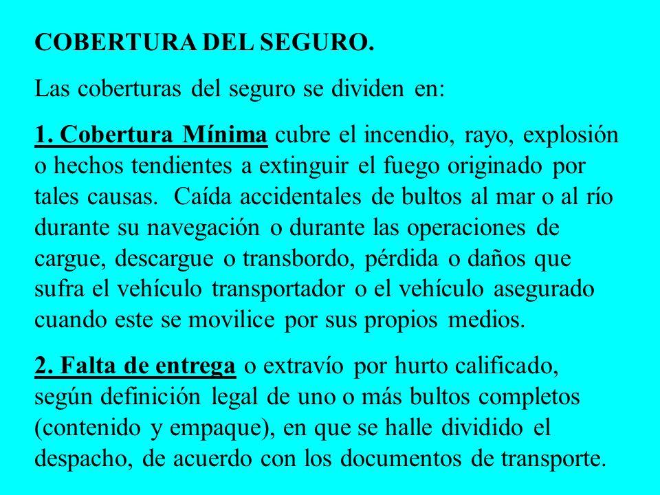 COBERTURA DEL SEGURO. Las coberturas del seguro se dividen en:
