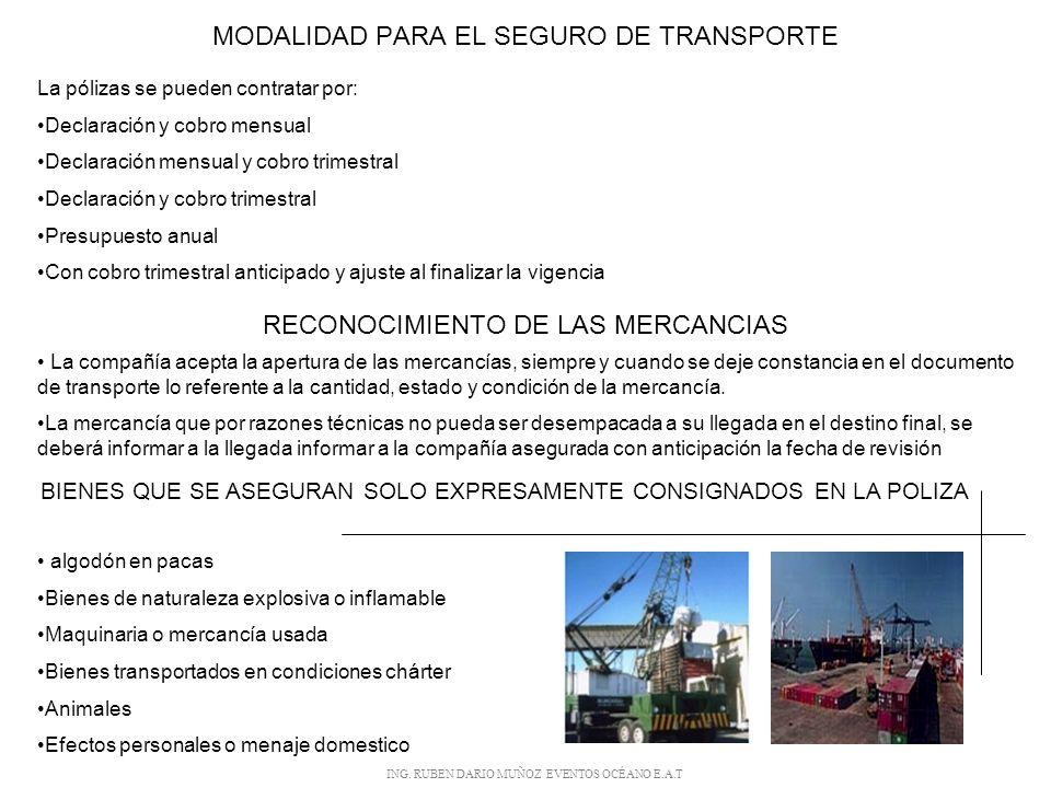MODALIDAD PARA EL SEGURO DE TRANSPORTE
