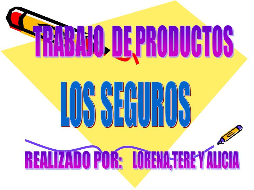 TRABAJO DE PRODUCTOS LOS SEGUROS REALIZADO POR: LORENA,TERE Y ALICIA