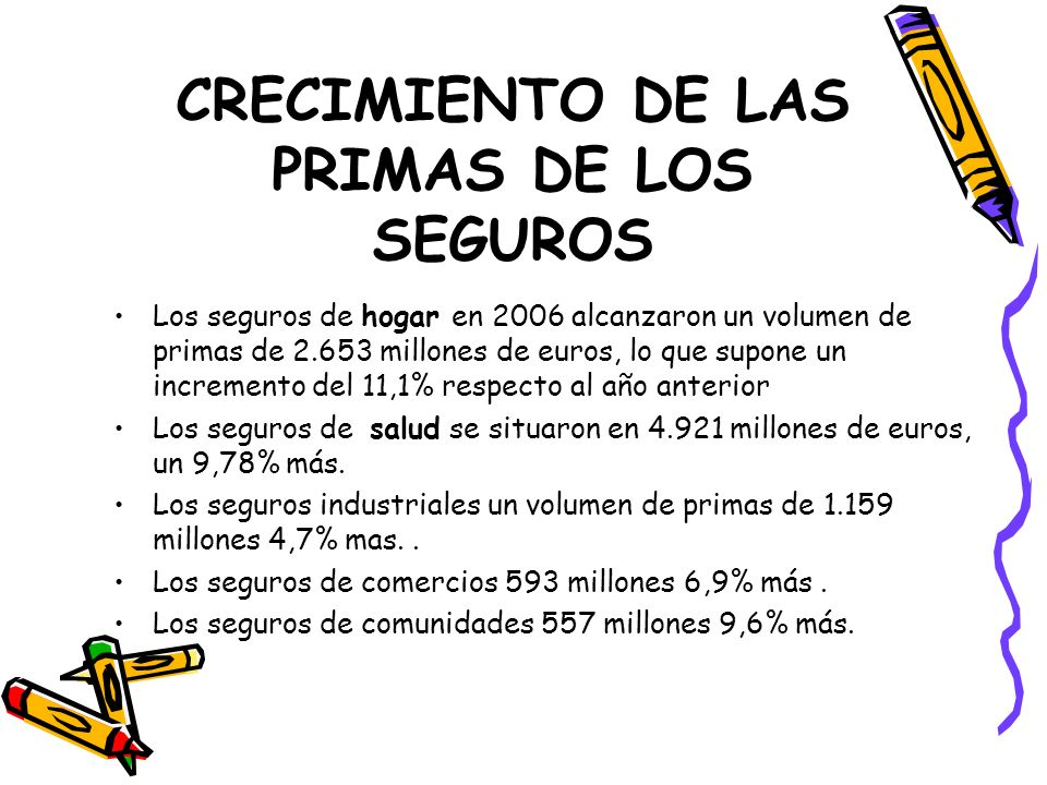 CRECIMIENTO DE LAS PRIMAS DE LOS SEGUROS