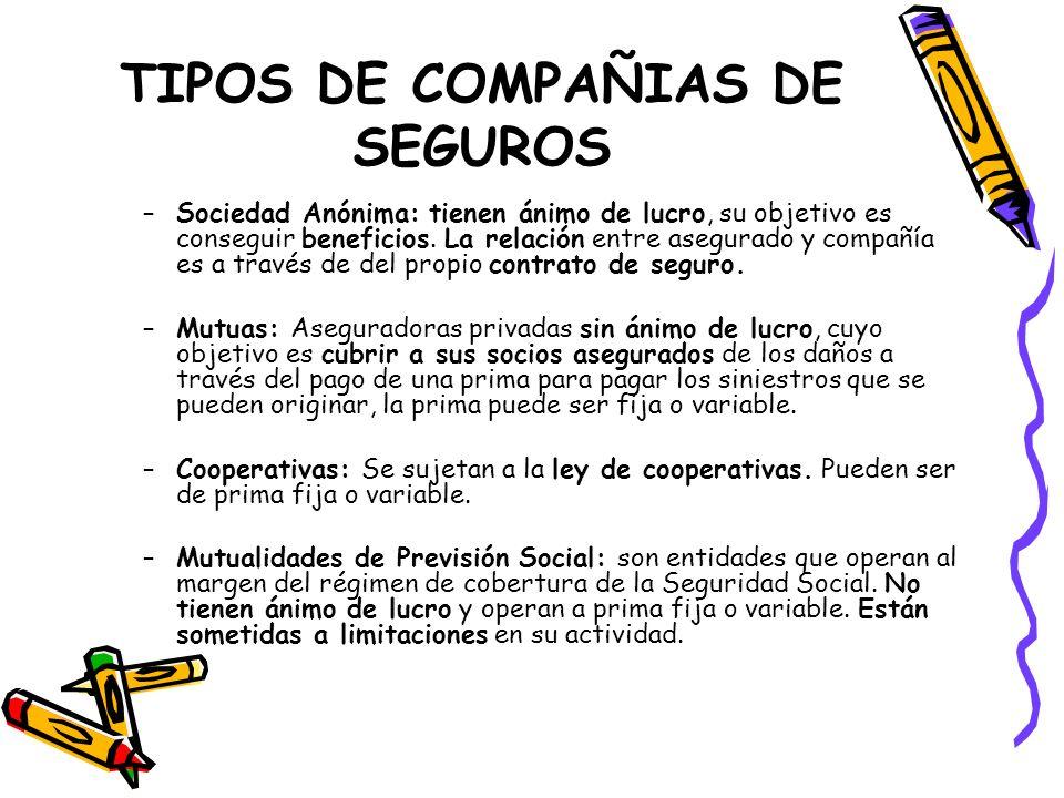 TIPOS DE COMPAÑIAS DE SEGUROS