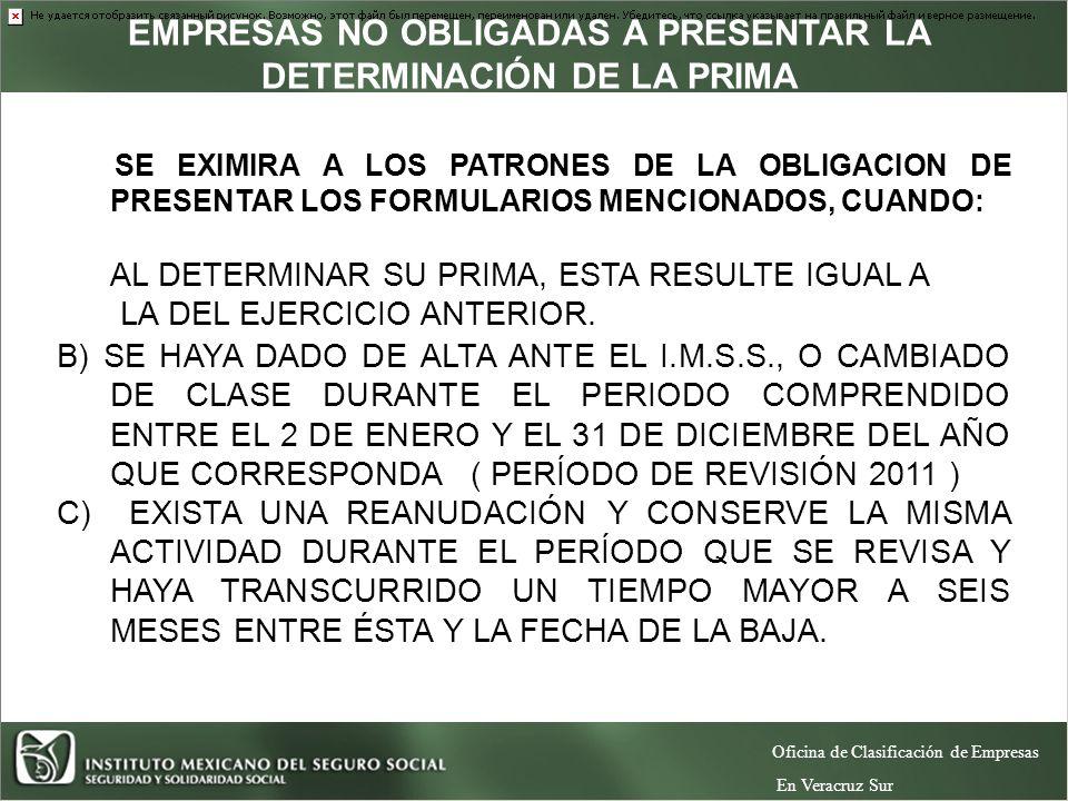 EMPRESAS NO OBLIGADAS A PRESENTAR LA DETERMINACIÓN DE LA PRIMA