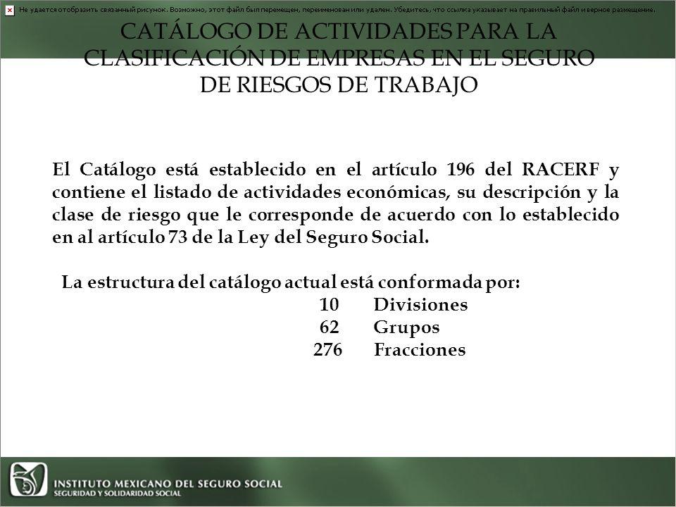 CATÁLOGO DE ACTIVIDADES PARA LA CLASIFICACIÓN DE EMPRESAS EN EL SEGURO DE RIESGOS DE TRABAJO