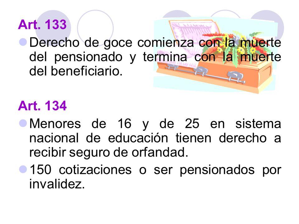Art. 133 Derecho de goce comienza con la muerte del pensionado y termina con la muerte del beneficiario.