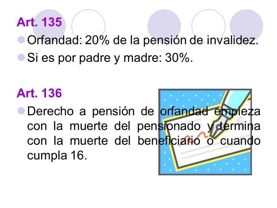 Art. 135 Orfandad: 20% de la pensión de invalidez. Si es por padre y madre: 30%. Art. 136.