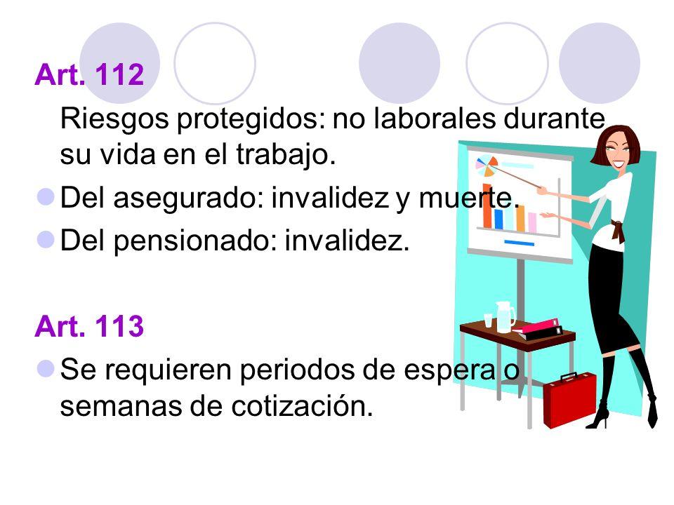 Art. 112 Riesgos protegidos: no laborales durante su vida en el trabajo. Del asegurado: invalidez y muerte.