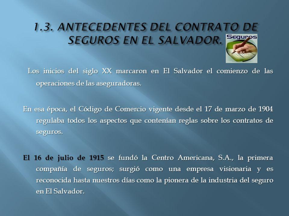 1.3. ANTECEDENTES DEL CONTRATO DE SEGUROS EN EL SALVADOR.
