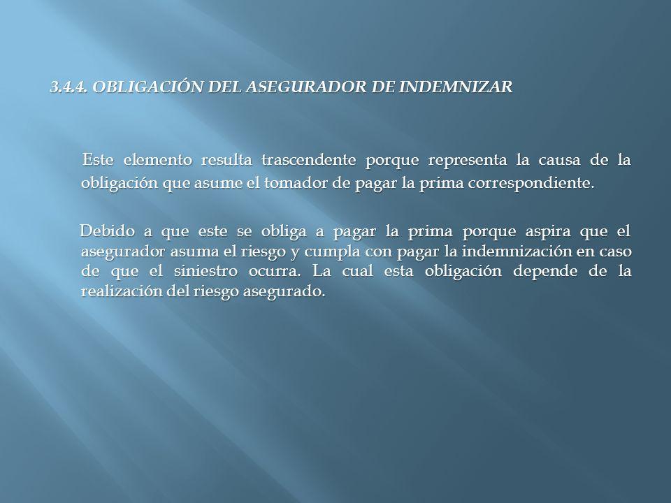 3.4.4. OBLIGACIÓN DEL ASEGURADOR DE INDEMNIZAR