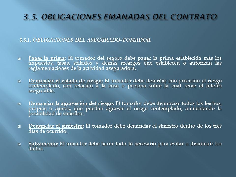 3.5. OBLIGACIONES EMANADAS DEL CONTRATO