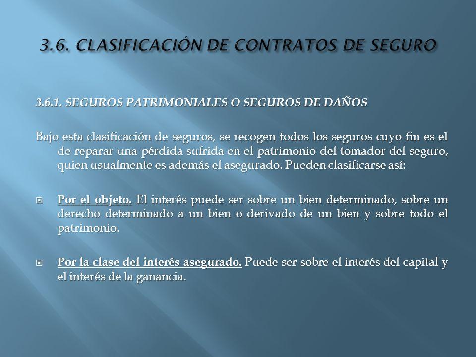 3.6. CLASIFICACIÓN DE CONTRATOS DE SEGURO