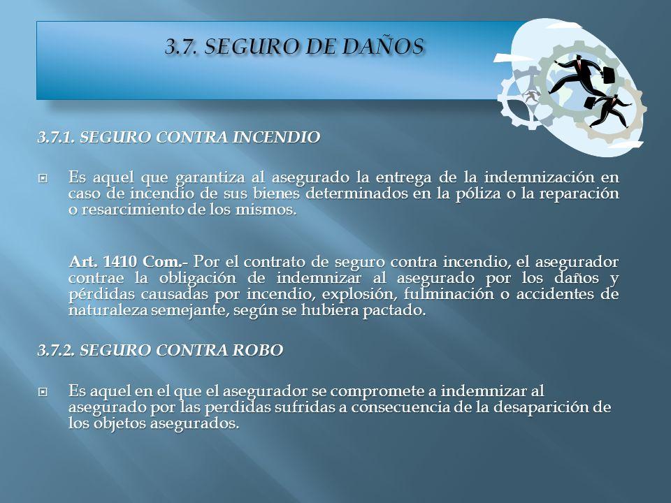 3.7. SEGURO DE DAÑOS 3.7.1. SEGURO CONTRA INCENDIO