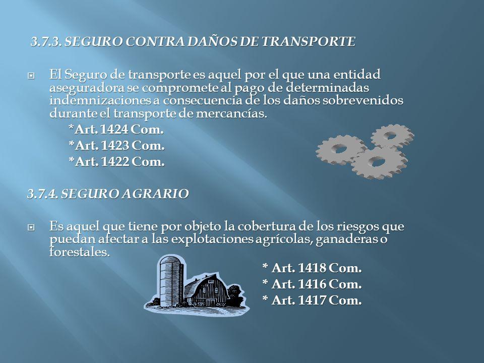 3.7.3. SEGURO CONTRA DAÑOS DE TRANSPORTE