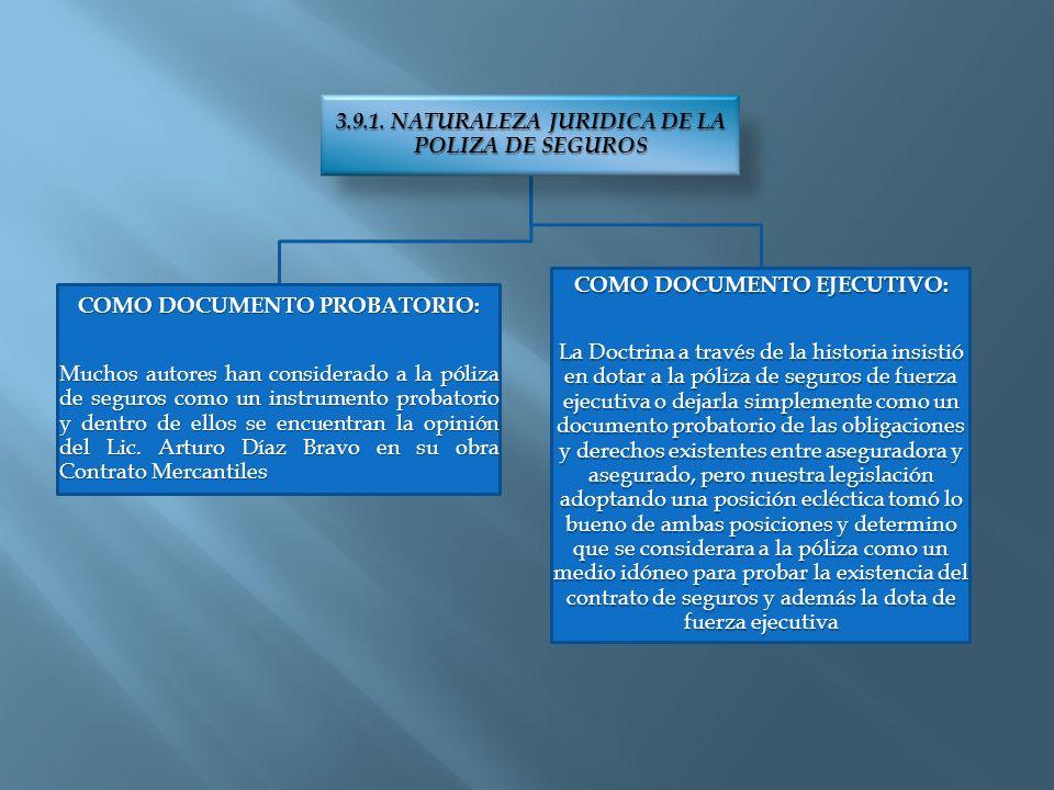 3.9.1. NATURALEZA JURIDICA DE LA POLIZA DE SEGUROS