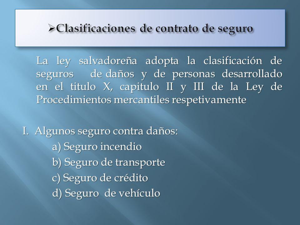 Clasificaciones de contrato de seguro