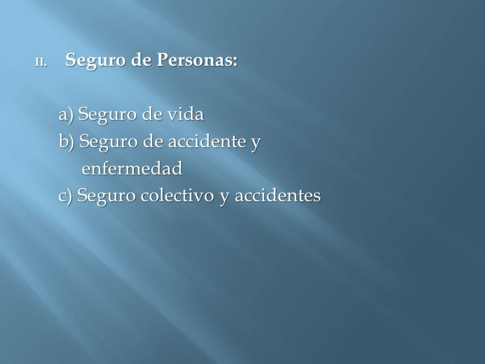Seguro de Personas: a) Seguro de vida. b) Seguro de accidente y.