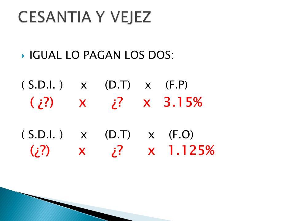 CESANTIA Y VEJEZ ( ¿ ) x ¿ x 3.15% (¿ ) x ¿ x 1.125%