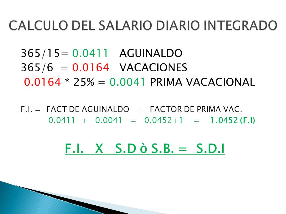 CALCULO DEL SALARIO DIARIO INTEGRADO