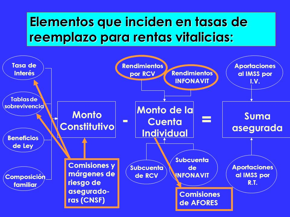 Elementos que inciden en tasas de reemplazo para rentas vitalicias: