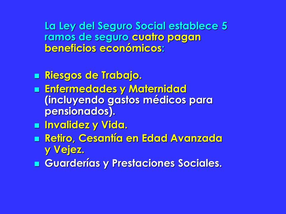 La Ley del Seguro Social establece 5 ramos de seguro cuatro pagan beneficios económicos: