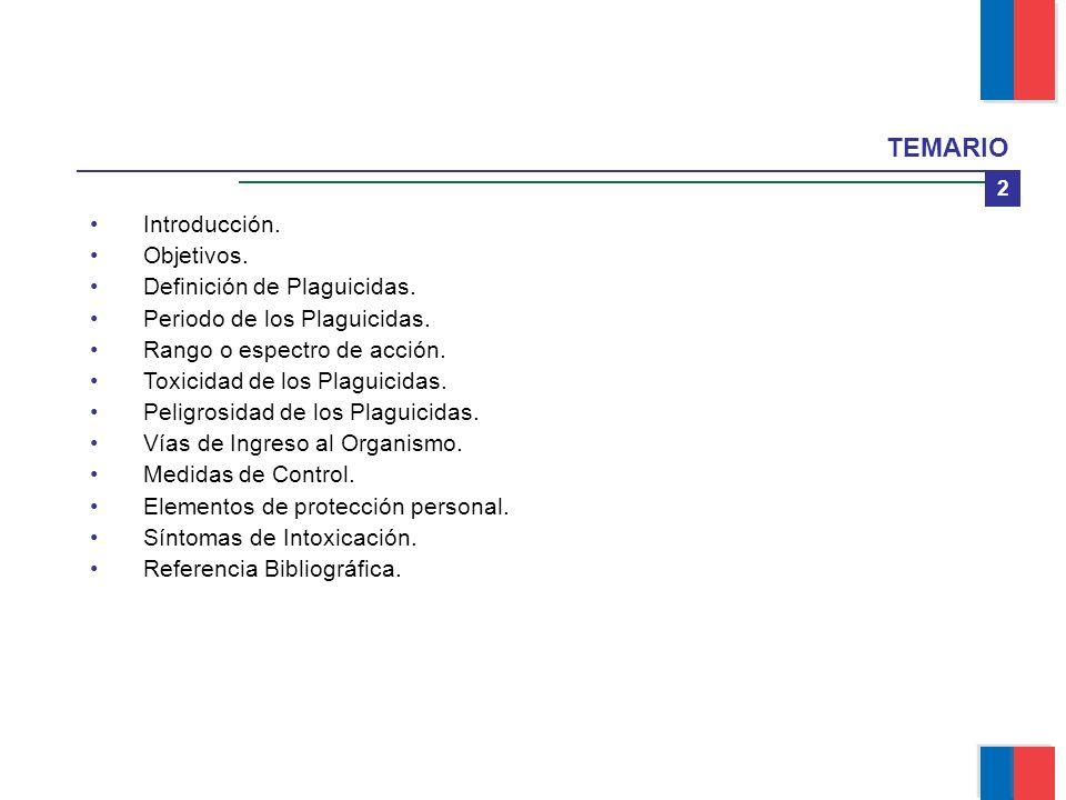 TEMARIO Introducción. Objetivos. Definición de Plaguicidas.