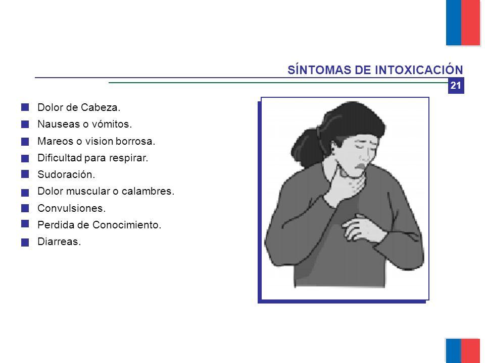 SÍNTOMAS DE INTOXICACIÓN