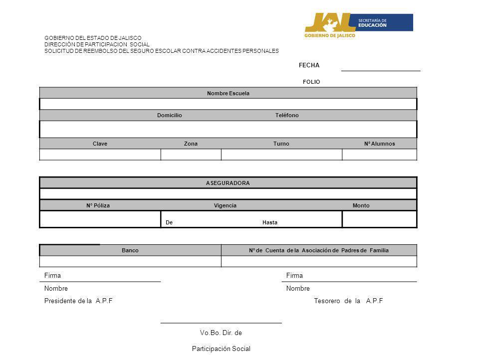 Firma Nombre Presidente de la A.P.F Tesorero de la A.P.F