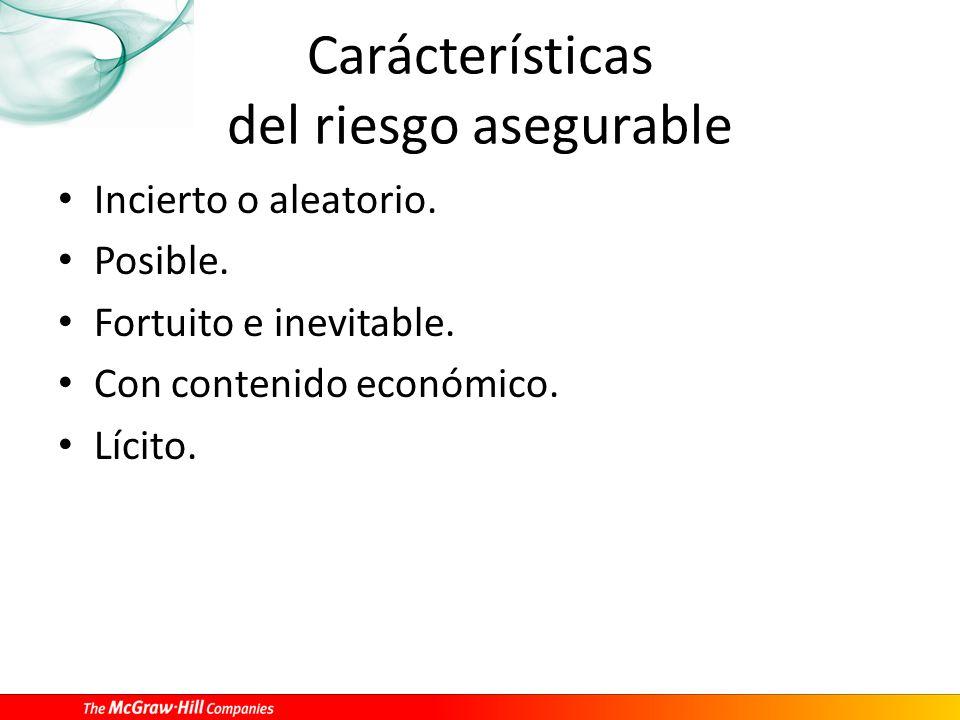 Carácterísticas del riesgo asegurable
