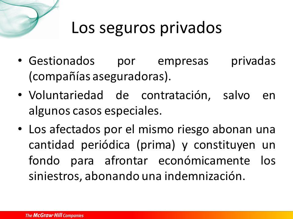 Los seguros privados Gestionados por empresas privadas (compañías aseguradoras). Voluntariedad de contratación, salvo en algunos casos especiales.