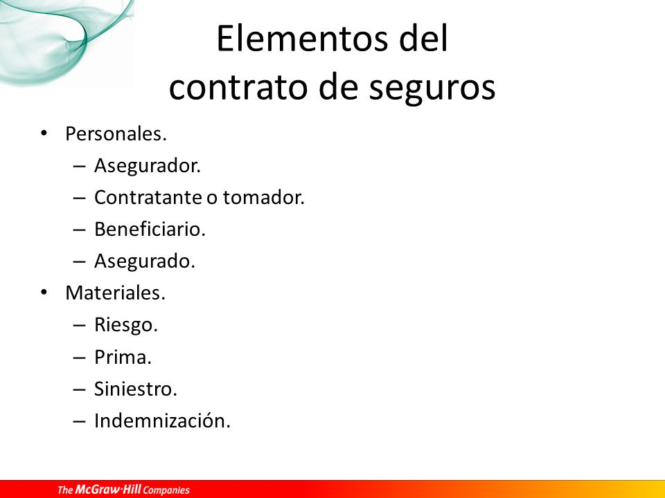 Elementos del contrato de seguros