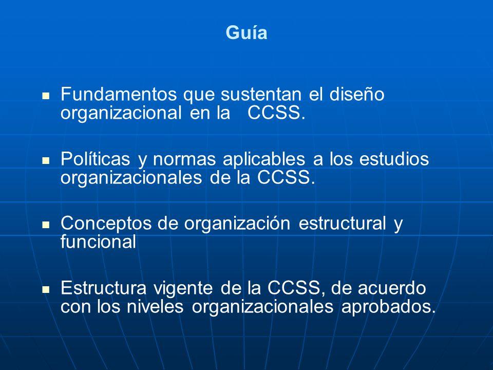 Guía Fundamentos que sustentan el diseño organizacional en la CCSS. Políticas y normas aplicables a los estudios organizacionales de la CCSS.