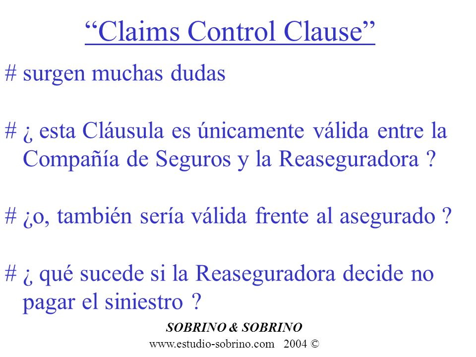 Claims Control Clause