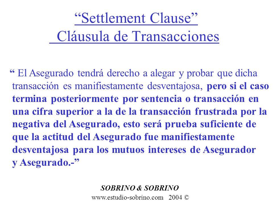 Settlement Clause Cláusula de Transacciones