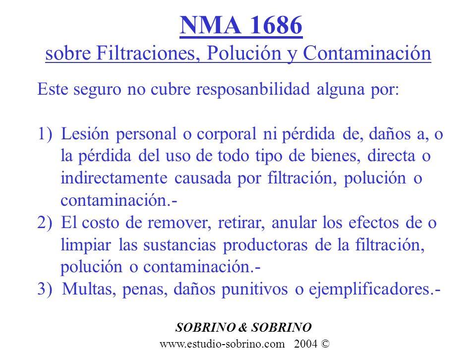 NMA 1686 sobre Filtraciones, Polución y Contaminación