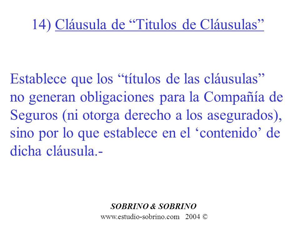 14) Cláusula de Titulos de Cláusulas