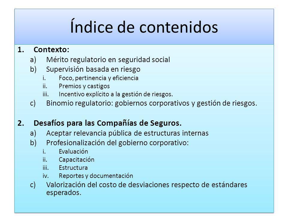 Índice de contenidos Contexto: Desafíos para las Compañías de Seguros.