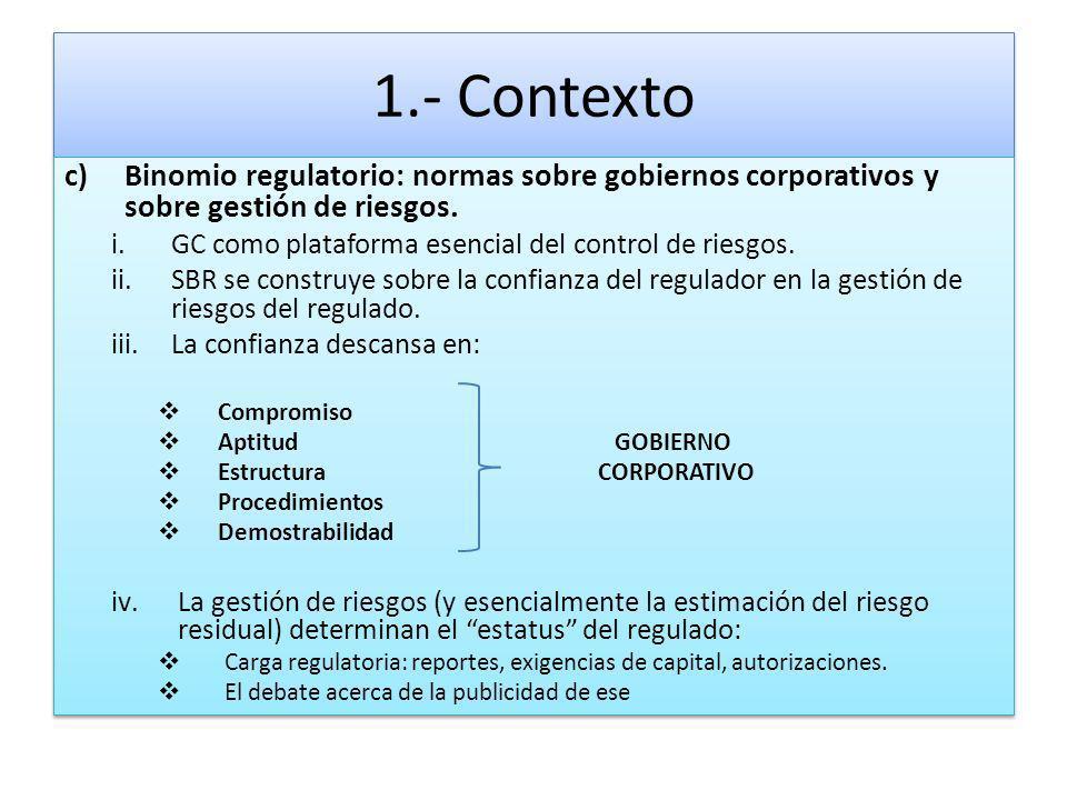 1.- Contexto Binomio regulatorio: normas sobre gobiernos corporativos y sobre gestión de riesgos.